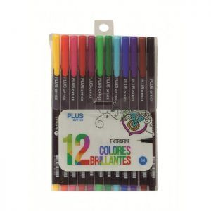 Blister 12x Rotuladores Plus Office Extrafine 0.4mm Estuche Tinta Base Agua