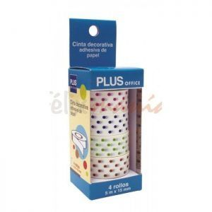 6x Pack de 4 Cintas Adhesivas Decoradas Washi Tape Topos 4 Colores 5m x 15mm