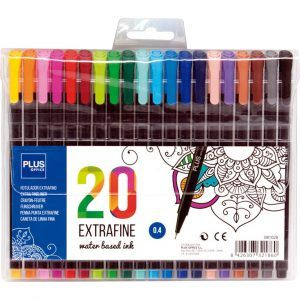 Blister 20x Rotuladores Extrafine 0.4mm Estuche Tinta Base Agua