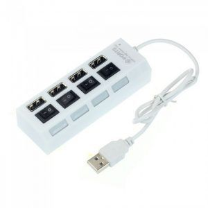 Adaptador HUB 4x USB ladron multipuerto PC interruptores indicadores LED Blanco