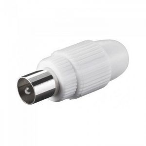Adaptador Conector Recto Macho para Cable de Antena Television color Blanco