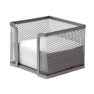 Cubo Portanotas Plus Office 499 Rejilla Plateado 100 x 80 x 105