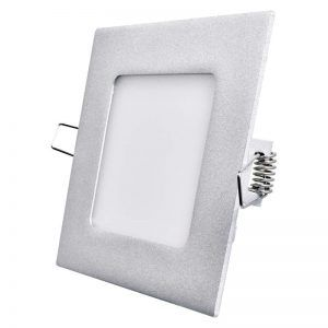 Panel LED 120 × 120mm, incorporado, plateado, 6W blanco neutro