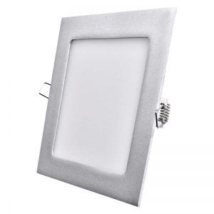 Panel LED 170 × 170mm, incorporado, plateado, blanco neutro 12W