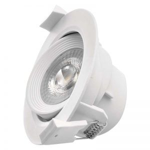 Foco LED techo empotrable, blanco, redondo, 6,5W blanco calido