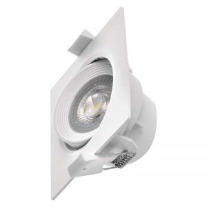 Foco LED techo empotrable, blanco, cuadrado, 5W blanco neutro