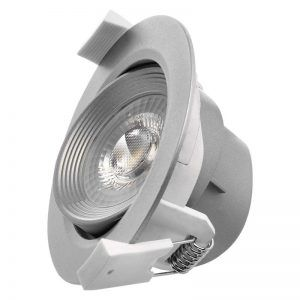 Foco LED techo empotrable, Gris, redondo, 6,5W blanco neutro