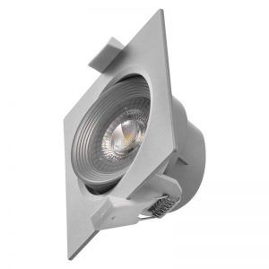 Foco LED techo empotrable, gris, cuadrado, 5W blanco neutro