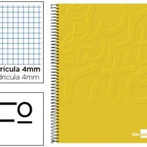 10 Cuadernos folio write tapa blanda 80h 60gr cuadro 4mm color amarillo