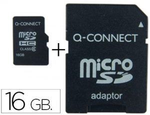 Memoria sd micro q-connect flash 16 gb clase 4 con adaptador.