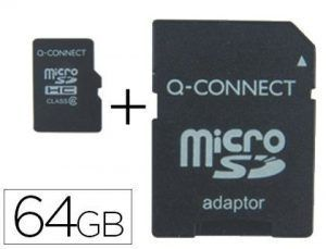 Memoria sd micro q-connect flash 64 gb clase 4 con adaptador.