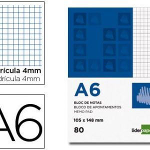 Bloc notas liderpapel cuadro 4mm A6 80 hojas 60g/m2 (10 Ud.)