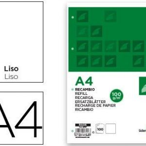 Recambio liderpapel a4 100 hojas 100g/m2 liso sin margen 4 taladros.