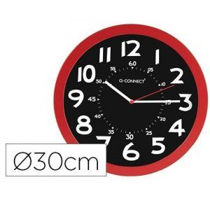 Reloj pared plastico oficina redondo 30 cm color rojo y esfera color negro