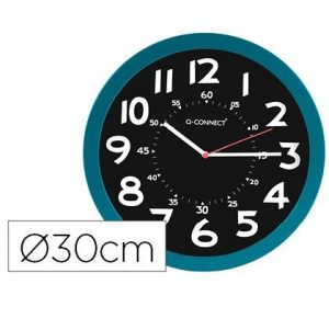Reloj pared plastico oficina redondo 30 cm color azul y esfera color negro