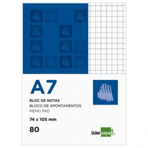 Bloc notas liderpapel cuadro 4mm A7 80 hojas 60g/m2 (10 Ud.)