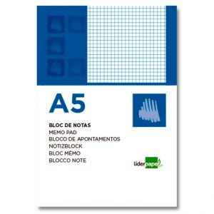 Bloc notas liderpapel cuadro 4mm A5 80 hojas 60g/m2 (6 Ud.)
