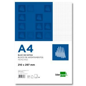Bloc notas liderpapel cuadro 4mm A4 80 hojas 60g/m2 (3 Ud.)