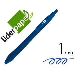 Boligrafo liderpapel gummy touch retractil 1,0 mm tinta azul (12 Ud.)