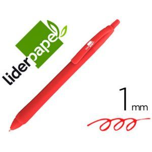 Boligrafo liderpapel gummy touch retractil 1,0 mm tinta rojo (12 Ud.)
