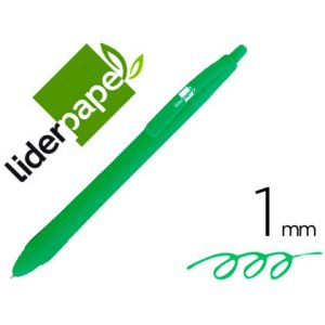 Boligrafo liderpapel gummy touch retractil 1,0 mm tinta verde (12 Ud.)